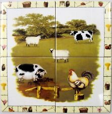 Farm Yard Wall Tile Panel 4 Tiles Decorative Country Scene Mural Hand Made in UK