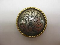 4 Conchos Silver With Gold Rim Chicago Screw Horse Tack Leather Working