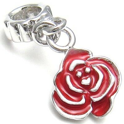 5 Pcs Red Rose Flower Silver European Spacers Charms Beads For Bracelet L#556