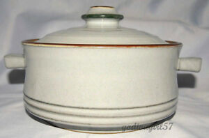Denby-Fjord-2-5-QUART-COVERED-CASSEROLE-Round-Gray-Green-Brown-EXC