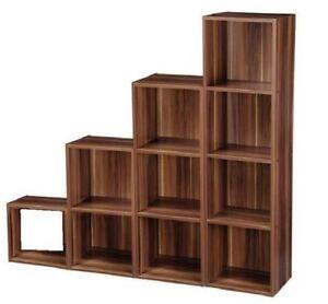 WALNUT EFFECT WOODEN BOOKCASE STORAGE SHELF BEDROOM LIVING ROOM DISPLAY UNIT