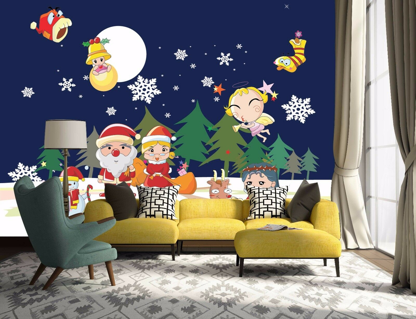 3D Angel Santa Claus 644 Wallpaper Murals Wall Print Wallpaper Mural AJ WALL US