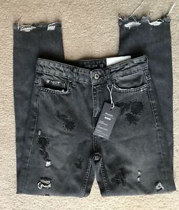 BERSHKA-WASHED-BLACK-RIPPED-EMBROIDERED-CIGARETTE-JEANS-EURO-32-UK-8-NEW