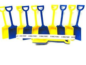 10 Mix Blue & Yellow Toy Shovels 10 I Dig You Stickers Made in America No BPA