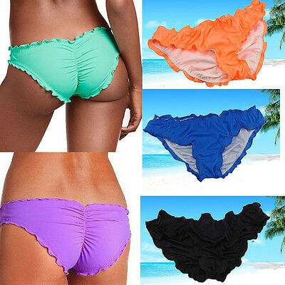 Women Lady Swimwear Scrunch Brazilian Semi Thong Bikini Bottom Beachwear