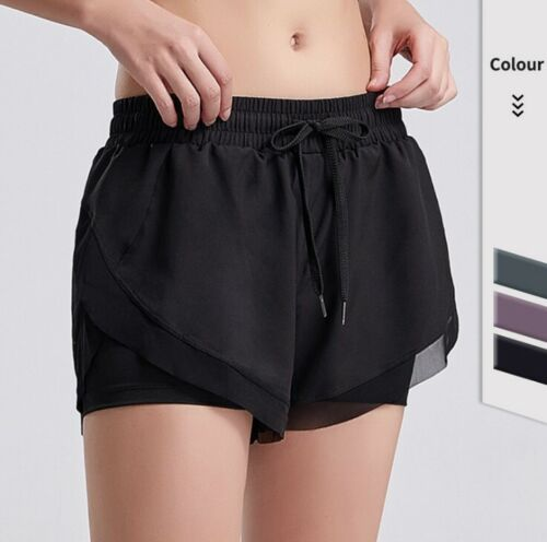 2 in 1 Women Girl Sports Gym Running Shorts Fitness Quick Dry With Pocket Pants