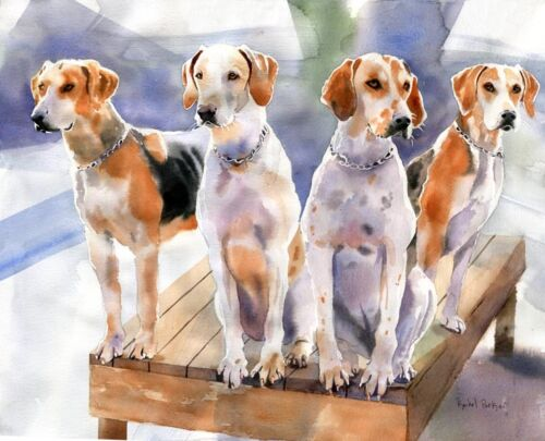 Giclee Penn Mary-Del Hound Painting  Art Dog foxhunting hounds print watercolor