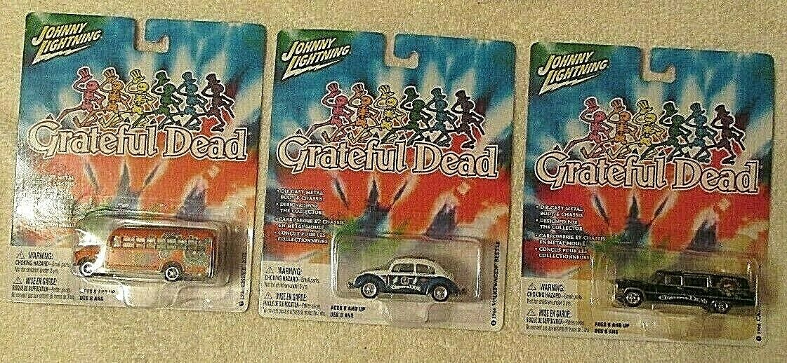 Johnny Lightning 3 Grateful Dead coches Cadillac Hearse Chevy Bus VW Beetle Industrial