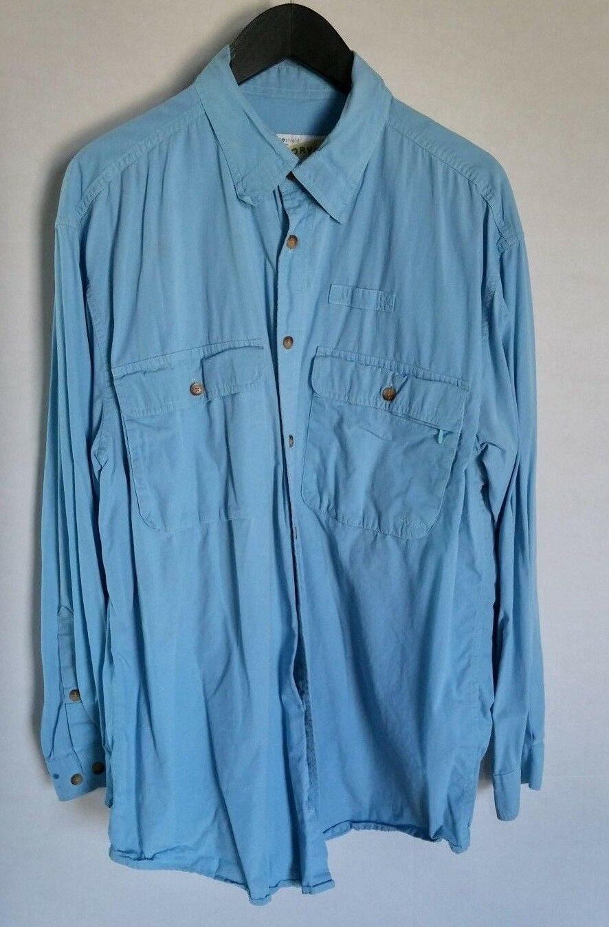 ORVIS INSECT SHIELD uomo BUTTON davanti SHIRT lungo SLEEVE LIGHT blu gree