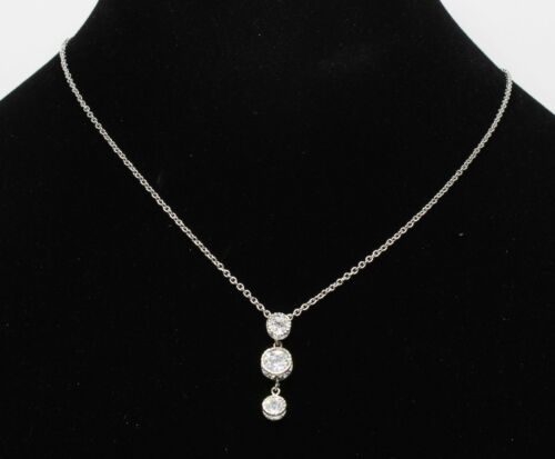 Gorgeous New Silver Genuine Cubic Zirconia CZ Pendant Necklace nwt #N0049