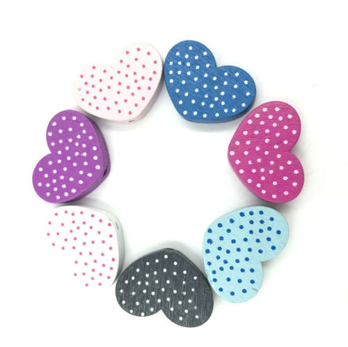 Mixed Heart-Shaped Spot Wood Bead Jewelry Accessories Wooden 25mm