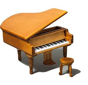 Sky Mini Cute Wood Piano Music Box With Delicate Bench