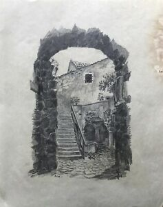 Drawing-1928-Old-Archway-with-View-from-Courtyard-Cobblestones