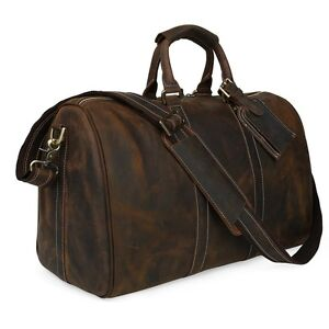 Gift-Luggage-Mens-Travel-Duffle-Vintage-cowhide-Leather-Classic-tote-Gym-Bags