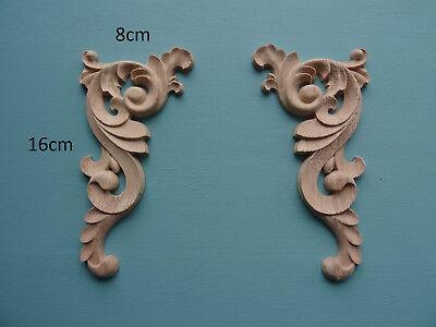 Decorative wooden corners x 2 applique furniture mouldings onlay D334