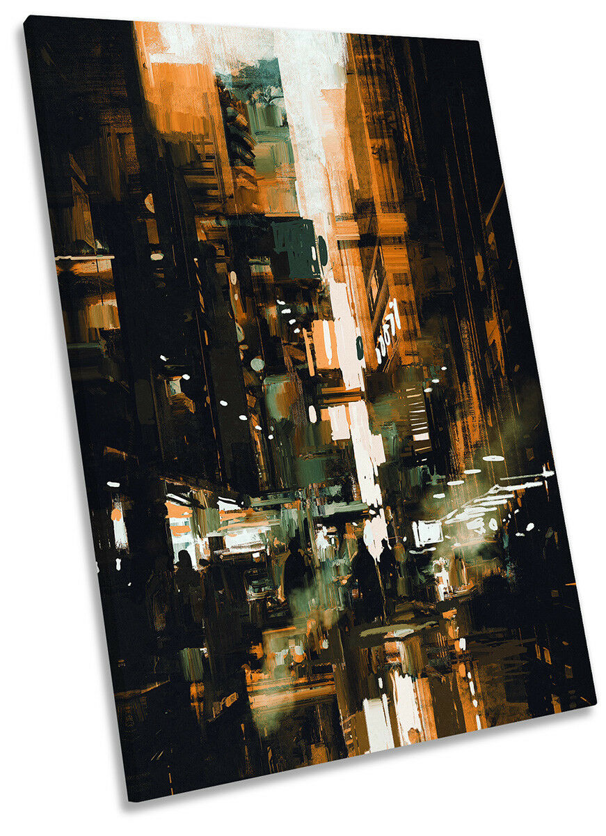 Abstract City Life Picture CANVAS WALL ART Portrait Print