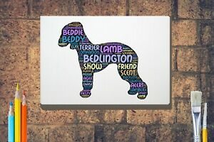 Bedlington-Terrier-Word-Art-Canvas-A4A3A2A1-Mothers-Day-Gift-Personalised-Option