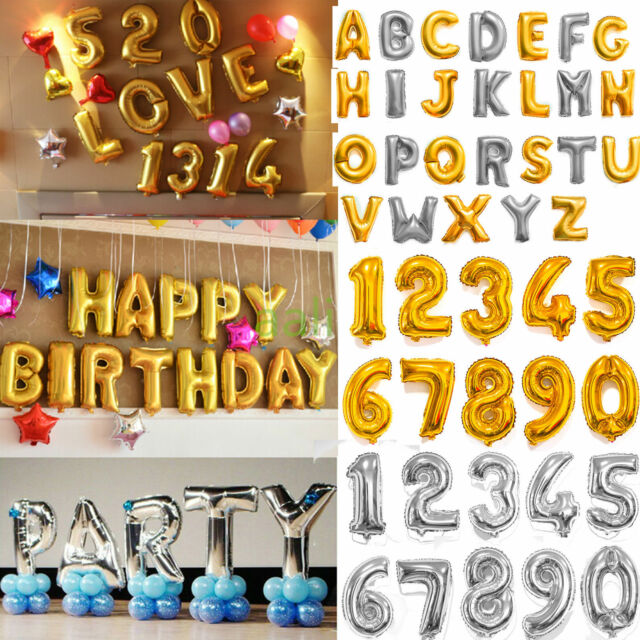 """16"""" 40"""" Silver Gold Helium aluminum Foil Number 0-9 Balloon Party Wedding Decor"""