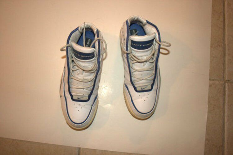 NIKE UPTEMPO WHITE/BLUE MENS BASKETBALL SNEAKER SIZE 9.5.  New shoes for men and women, limited time discount