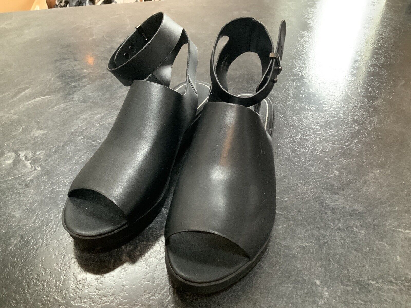 Topshop Open Toe Sling Backs Mid Chunky Heel NEW Black SIZE 6 RRP