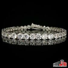 14k White Gold Finish .925 Silver 1 Row Simulated Diamond Bracelet Tennis 5mm 8""