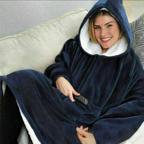 UK Blanket Sweatshirt Huggle Hoodie Ultra Plush Blanket Hoodie Soft/&Warm New
