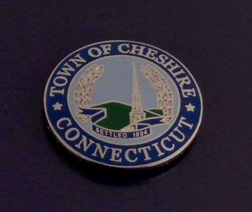 "Town of Cheshire CT Connecticut 15//16/"" LAPEL PIN seal police//fire//ems//political"