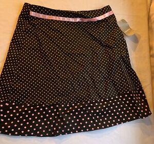 Juniors NO BOUNDRIES Size 11 Black Pink Polka Dots & Ribbon Above Knee Skirt