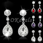 Beauty Vintage Wedding Crystal Glass Rhinestone Dangle Drop Chandelier Earrings
