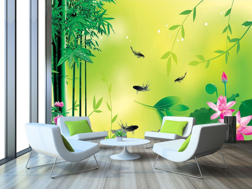 3D Bamboo Lotus Fish 732 Wall Paper Wall Print Decal Wall AJ WALLPAPER CA