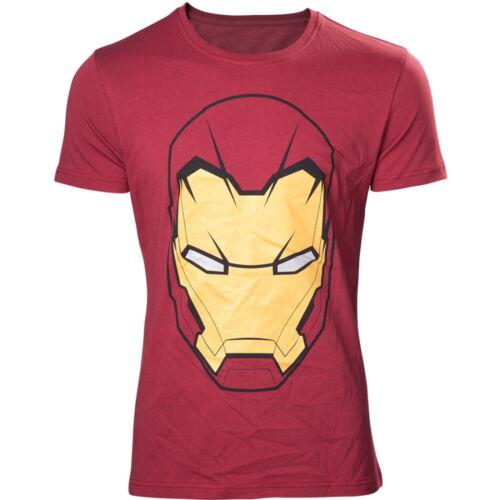 NEW OFFICIAL Marvel Comics Iron Man Mask Logo Symbol Red Mens T-Shirt Top
