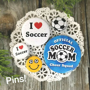 5-Soccer-PINS-BACK-BUTTONS-BADGES-Soccer-Mom-smiley-I-heart-soccer-Flair