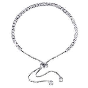 Amour-Sterling-Silver-White-Topaz-Tassel-Bolo-Bracelet