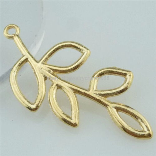 14251 20PCS Alloy Rose Gold Plated Plant Leaf Pendant Charm Jewelry Making