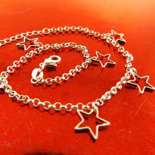 Anklet Bracelet Real 925 Sterling Silver S//F Solid Belcher Link Star Charm