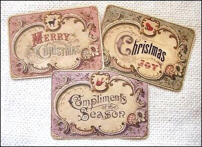Set of 18 VINTAGE CHRISTMAS LABELS VICTORIAN CHILDREN Primitive //Grungy// Antique