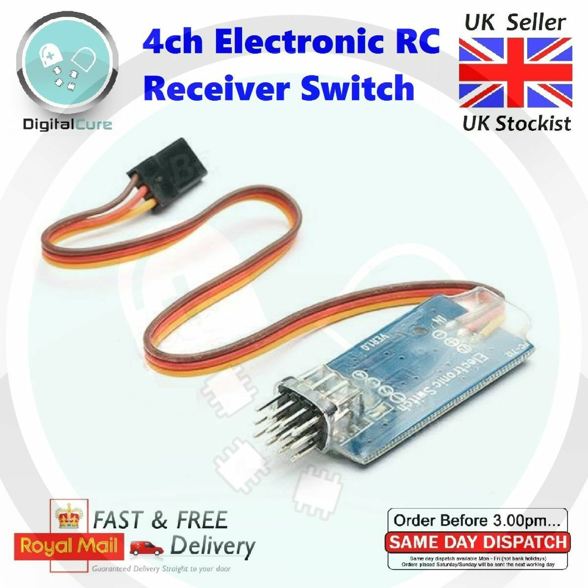 4ch Electronic On Off RC Receiver Controlled Remote Switch - Rx Tx
