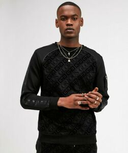 Glorious-Gangsta-Mens-New-Camilo-Crew-Neck-Long-Sleeved-Sweatshirt-Black-Velour