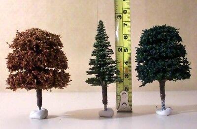 3 X Oo 00 Gauge Trees - 1 X Conifer + 2 X Deciduous Approx 7cm Tall New