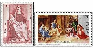 ITALIA-ITALY-1978-Natale-Christmas-Painting-Set-2-Stamps-MNH