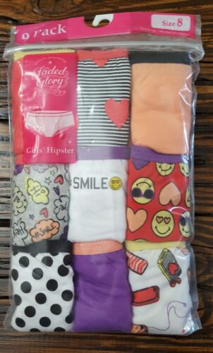 underwears// panties  size 8   9 pack NWT Girl/'s Faded Glory Hipster