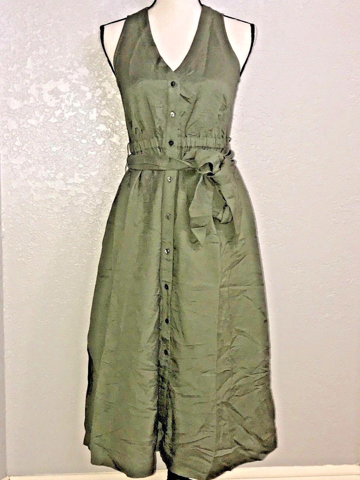 NEW Ann Taylor Shirt Dress Size 4 Olive Green Sleeveless Button Front