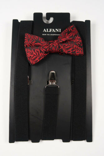 ALFANI Red Fern Print Bow Tie and Black Suspenders Pack **NEW MSRP $65