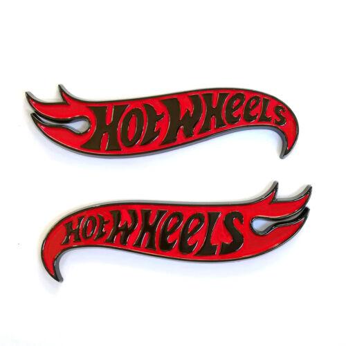 2x OEM Genuine Chevy Camaro Hot Wheels Edition Deck Black Red Emblems Badge L