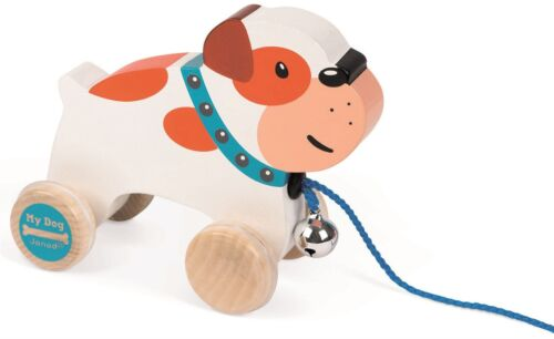 Janod MY DOG PULL ALONG BULLDOG Wooden Toys Games Preschool NEW