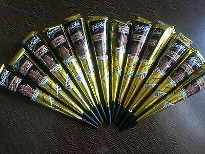 12 Golecha black color heena herbal cone temporary tattoo body art kit