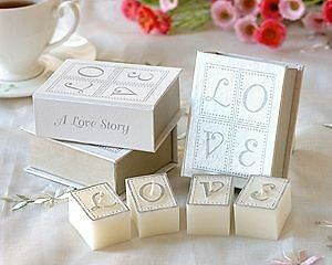 10 x Love Story Candle in Book Shape Case - Wedding Favour Bomboniere Party Gift