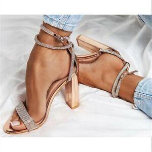 Women Ladies Block High Heel Sandals