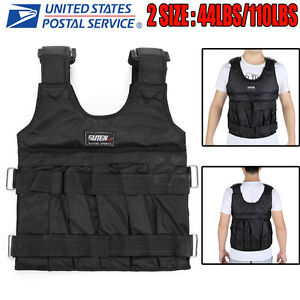 44-110lbs-Adjustable-Weighted-Vest-Fitness-Workout-Training-Boxing-Jacket-Black