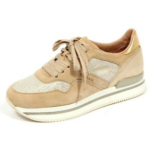 G0804 sneaker donna hogan h222 beige/gold suede/fabric shoes woman ...
